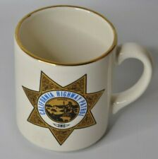 California Highway Patrol Coffee Mug With Gold Logo and Gold Rim