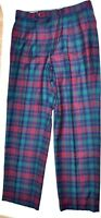 Vintage Corbin Mens 34W 32L Pants Tartan Plaid Wool 70's Disco