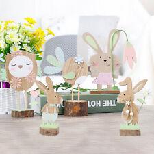 BL_ FP- Wooden Easter Rabbit Bunny Owl Bird Desktop Ornament Home Party Office D