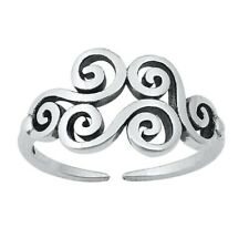 925 Oxidized Jewelry Face Height 9 mm Wind Symbol Toe Ring Solid Sterling Silver