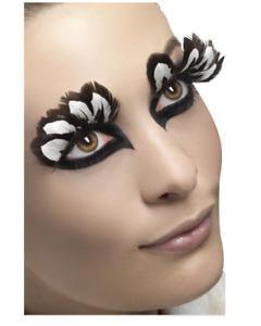 Feather Eyelashes Ladies White & Brown Fancy Dress Fake Lashes