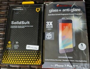 RhinoShield  SolidSuit Case w/ZAGG Screen PROTECTOR For iPhone 8 +/ 7+ Open Box