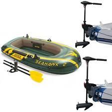 Intex Seahawk 2 Inflatable Raft Set and 2 Transom Mount 8 Speed Trolling Motors