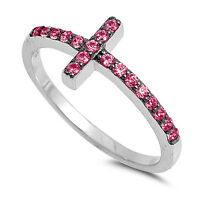 .925 Sterling Silver Ruby Cubic Zirconia Sideways Cross Ring Size 4 to 10 NEW