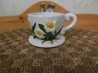 Wonderful Pottery Floral Coffee Cup Planter W/Attached Saucer EUC