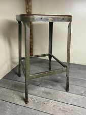 Vintage Lyons Metal Products 24 X 14 X 14 Metal Stool With US Brass Tag