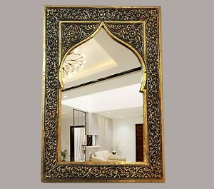 Mirror Handmade glass Carved Metal copper traditional wall vintage moroccan