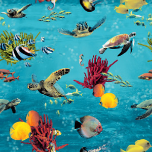 Rasch Tropical Ocean Fish And Turtles Sealife Theme Wallpaper - Blue - 310405