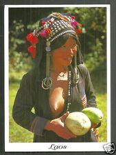 Iko Woman BEAUTY holding Fruit Earrings Hat Jewels Laos