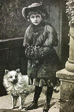 Young Girl w HAND MUFFand Dog GREAT EXPECTATIONS 1883 Antique Engraving Matted