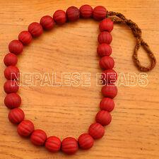 """Old Melon Glass Beads 25"""" Necklace Tibetan Nepalese Handmade Tibet Nepal UN1091"""