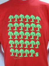 vintage 80s Neon Palm Trees Puffy Paint Graphic Print Red T Shirt XLARGE XL
