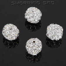 50pcs 20mm Crystal Round Rhinestone Spacer Beads Charm Hollow Rondelle Pave Ball