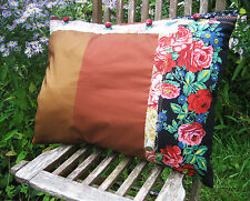 Original Handmade Red Bronze Russian Country Style Floral Patchwork Cushion Case