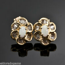 GEMSTONE  STUD EARRINGS - MOON STONE  & 1.00 CT BAGUETTE DIAMOND 14K YELLOW GOLD