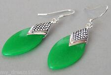 Vintage Style 925 Sterling Silver Natural Green Jade Dangle Hook Earrings
