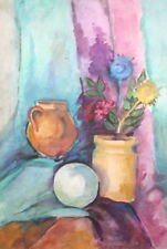 Impressionist watercolor drawing still life with flowers, bowl and jug