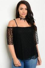 NEW..Stylish Plus Size Black Off the Shoulder Top with Spotty Overlay.SZ18/3XL