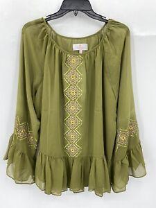 Laurie Felt Medium Embroidered Aztec Blouse Ruffle Hem Olive Green Boho NEW