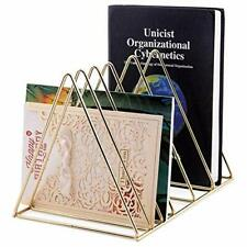 Moxita File Folder Stand Desktop File Organizer Triangle Wire Magazine Holder