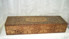 VINTAGE Wooden Pyrography Wood Burning Tie Box Hinged Roses and Leaves Design