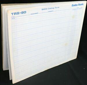 Radio Shack TRS-80 Video Display Worksheet Screen BASIC Coding Form Pads 100 pgs