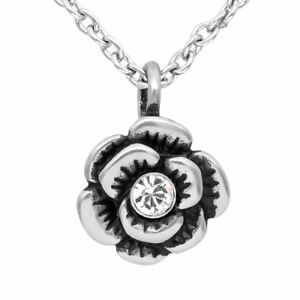 Rose Necklace Bloom Flower Pendant with Swarovski Crystal By Controse