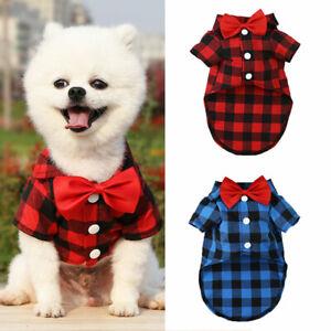 Dog Cat puppy SMALL Pet BOW TIE PLAID Jumper Santa vest Clothes S/M/L t-shirt US