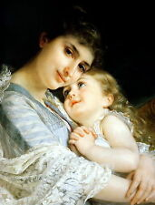 """MUNIER Print """"MOTHER DEAREST"""" Portrait of c19th Victorian Mother Young Daughter"""