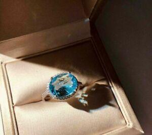 2.50Ct Oval Brilliant Cut Aquamarine Halo Engagement Ring 14K White Gold Finish
