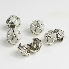 Oil Flower Silver Plated Spacer Stoppers Locks Clips Charms Beads Fit Bracelet