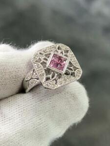 14k White Gold Genuine Diamonds Pink Sapphire Halo Design Princess Cut Ring Sz 7