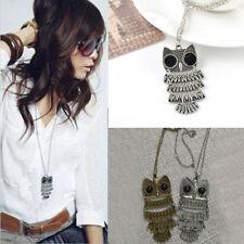 Women Fashion Vintage Style Bronze Owl Long Chain Necklace Pendant Jewelry