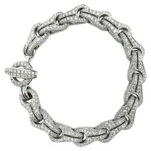 Shiny Round Shape 18.10 Carat Cubic Zirconia Sparkles Men's Beautiful Bracelet