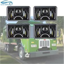 "4x6"" Rectangular Black Projector LED Headlights HI LO W/ DRL H4 Plug Sealed Beam"