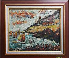 Henri Maurice d'Anty, Port de pêche, huile sur panneau, 38 x 46 cm