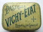 Boite Art Nouveau tôle lithographiée: Pastilles Vichy Etat, échantillon gratuit