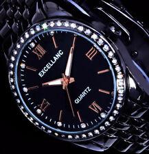 Excellanc Uhr Damenuhr Armbanduhr schwarz RoseGold Farben Metall STRASS