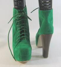 Verde 12.7cm Tacón Alto en bloque 5.1cm Plataforma Con Cordones Sexy Botines