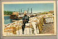 Postcard TN Memphis Levee Water Front Loading Cotton Paddle Wheel Boat 2415N