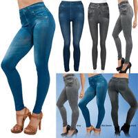 Women's Denim Pants Pocket Slim Leggings Fitness Plus Size Leggins Length Jeans