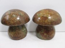 """Mid Century Modern Mushroom Alabaster Bookends Hand Carved Made In Italy 6"""""""