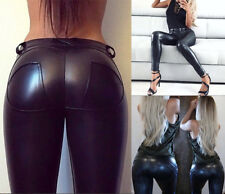 Faux Leather Thickening PU Elastic Shaping Hip Push Up Pants Sexy Leggings K073