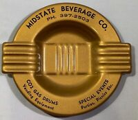 Vintage small metal advertising ashtray Midstate Beverage Co. Party Supplies