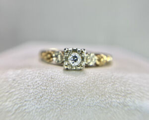 Art Deco 14k Yellow Gold Old European Natural Diamond Small Engagement Ring