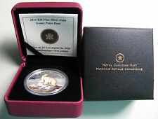 2014 Proof $20 Iconic Polar Bear Coloured Canada .9999 silver twenty dollars