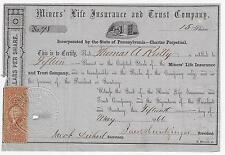 PENNSYLVANIA 1866 Miners' Life Insurance & Trust Company Stock Certificate #78