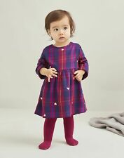 Joules Baby Girls Macy Woven Dress And Tights Set  - Navy Hearts