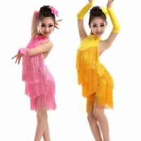 Child Vogue Tassel Ballroom Latin Salsa Dancewear Party Dance Costume Dress