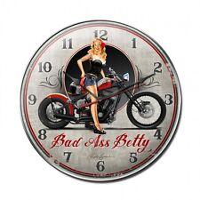 BAD ASS BETTY Pin Up Girl Wanduhr groß V2 Uhr US Biker Harley Chopper Motorcycle